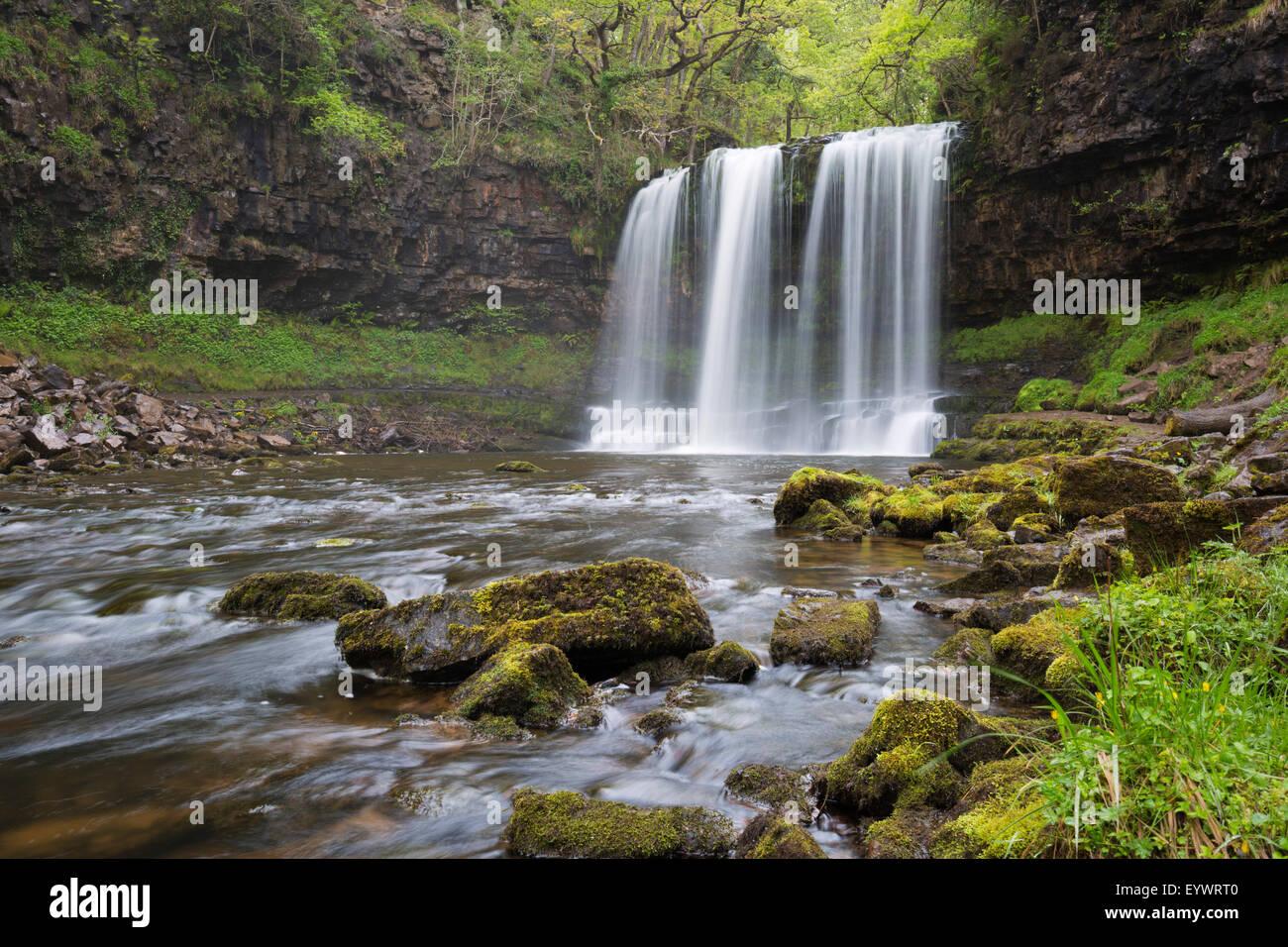 Sgwd yr Eira waterfall, Ystradfellte, Brecon Beacons National Park, Powys, Wales, United Kingdom, Europe - Stock Image