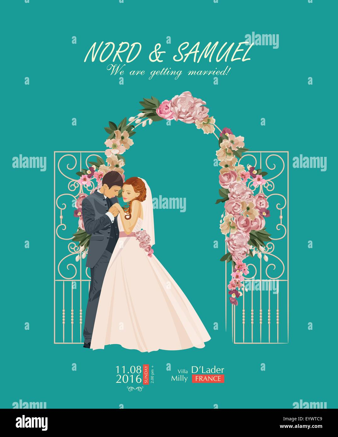 wedding vintage invitation card template vector with bride and groom