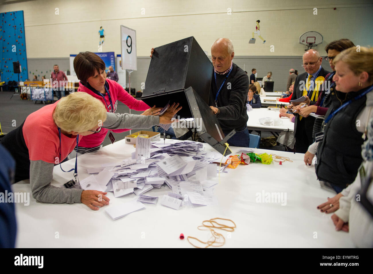 Friday May 8 2015, Aberaeron Wales UK - Emptying the ballot boxes prior to counting the votes cast  in the Ceredigion - Stock Image