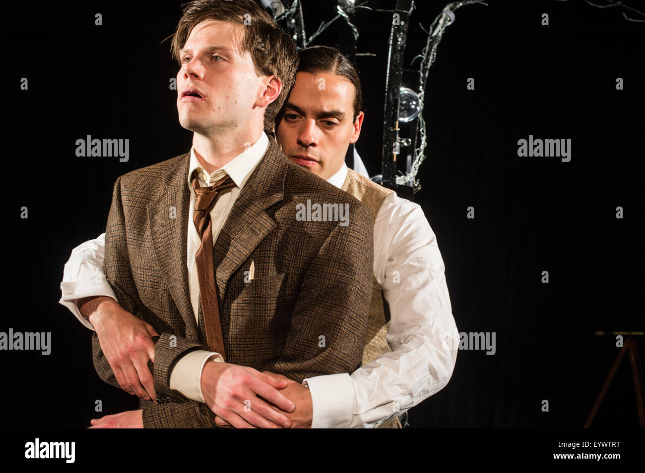 Actors performing in 'To Kill a Machine' a  play written by Welsh writer Catrin Fflur Huws about the life of mathematician Stock Photo