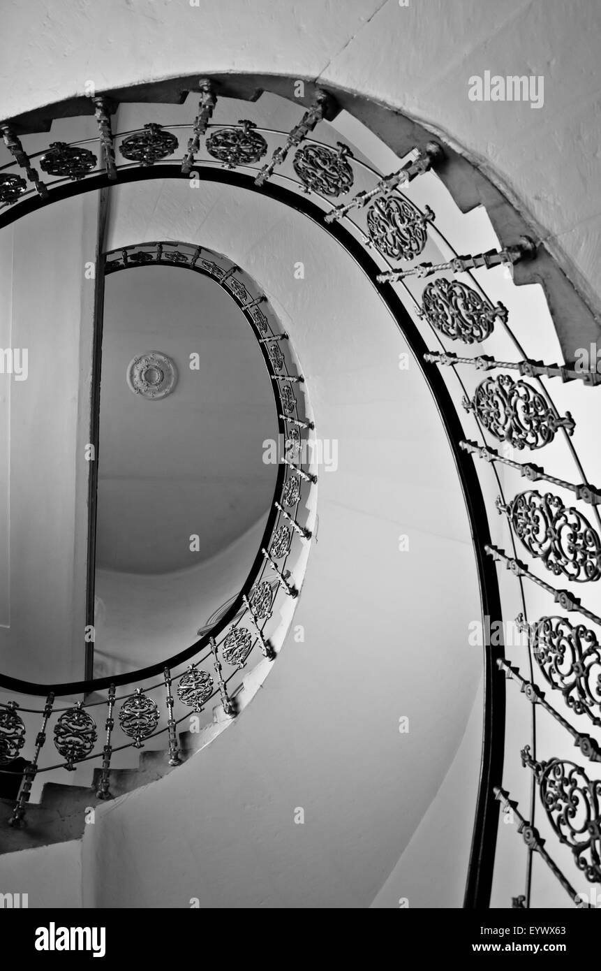 spiral staircase, view from below - Stock Image