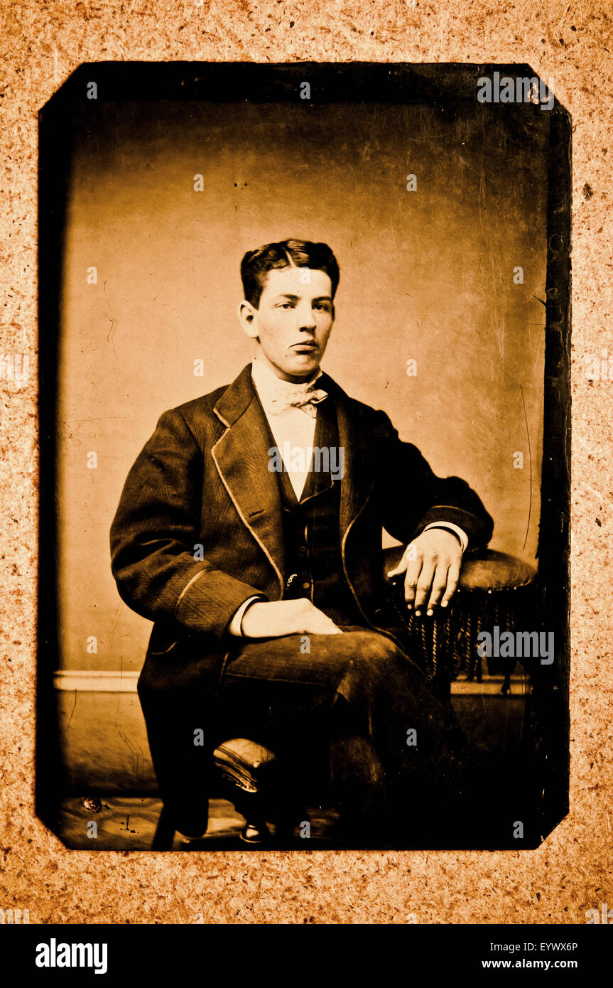 19th century tintype portrait photograph of a man - Stock Image