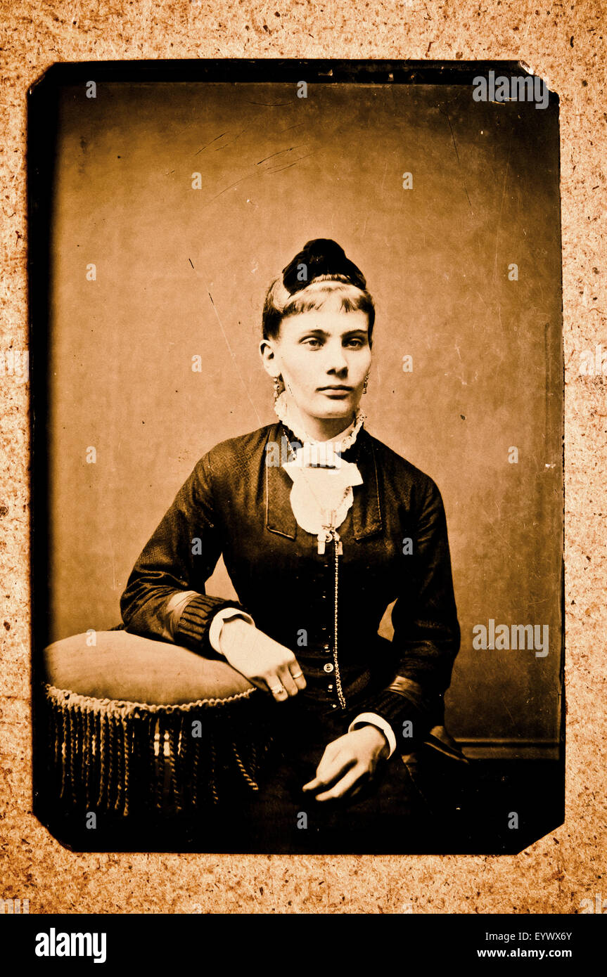 19th century tintype portrait photograph of a woman - Stock Image