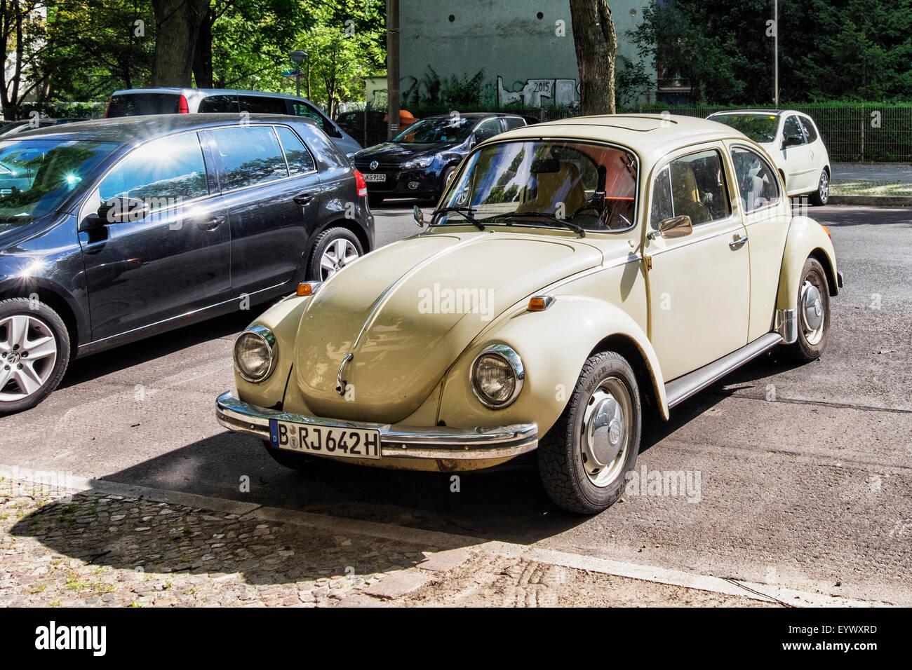Vintage classic Volkswagen beetle motor car parked in Berlin street - Stock Image