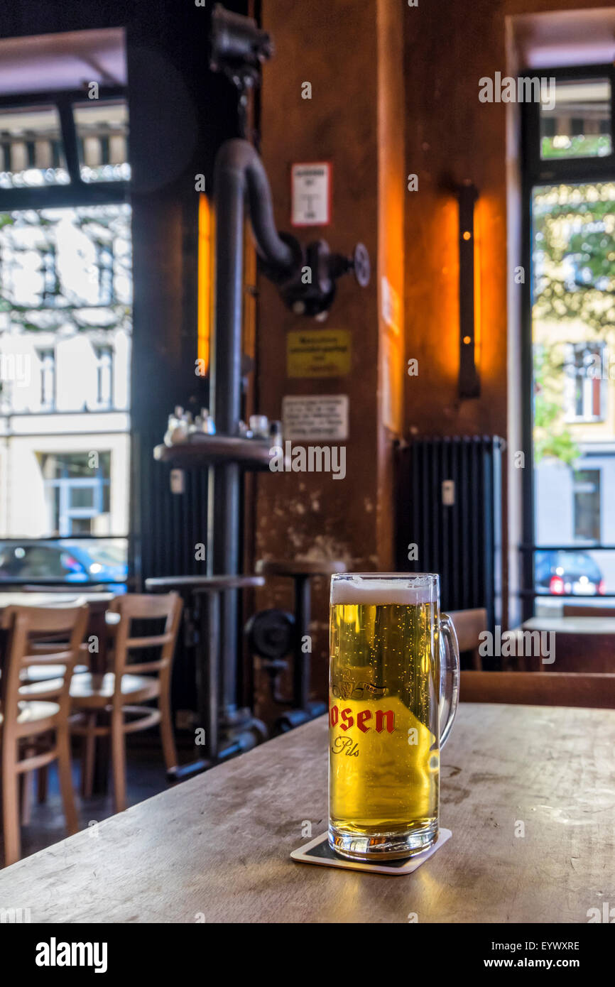Schwarze Pumpe bar and cafe and glass of Rosen Pils, lager beer - Stock Image