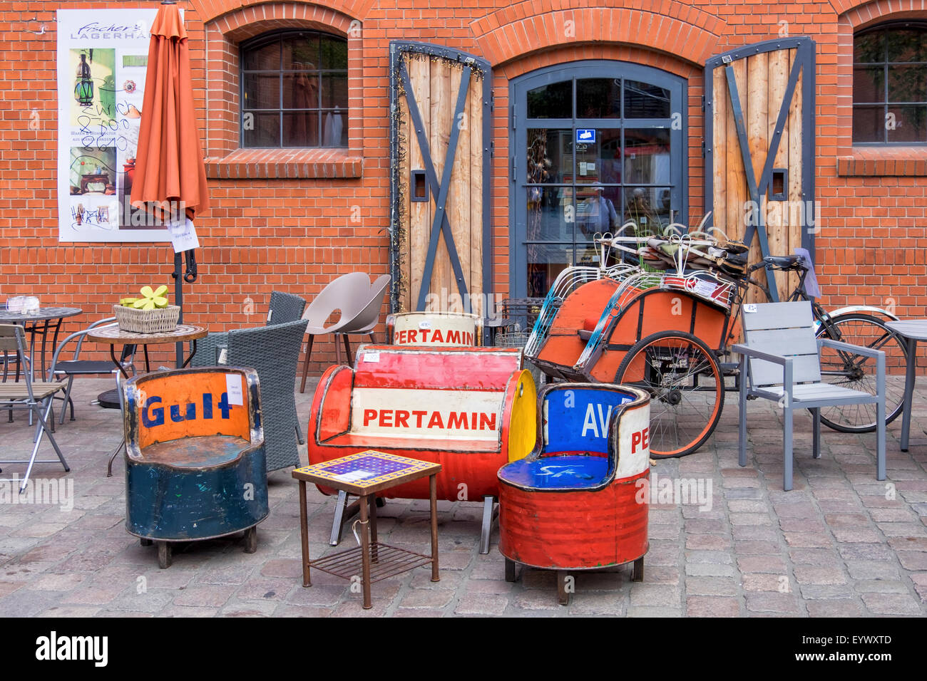Berlin Kulturbrauerei, Culture Brewery furniture shop selling unusual & quirky furniture made from old drums - Stock Image