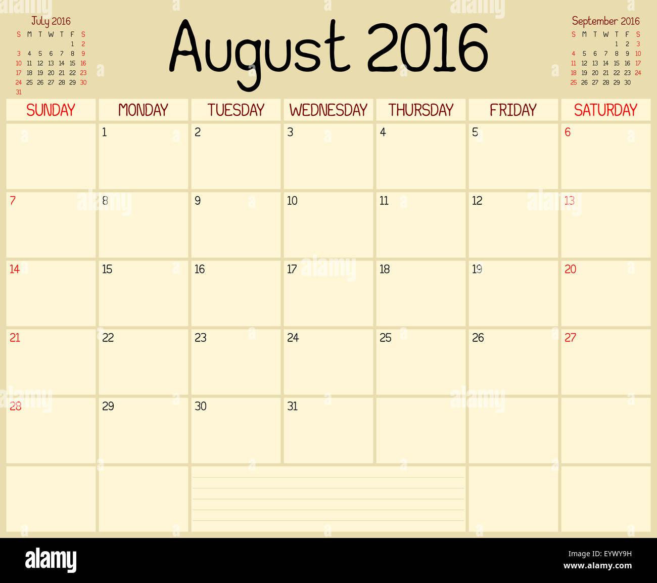 a monthly planner calendar for august 2016 a custom handwritten