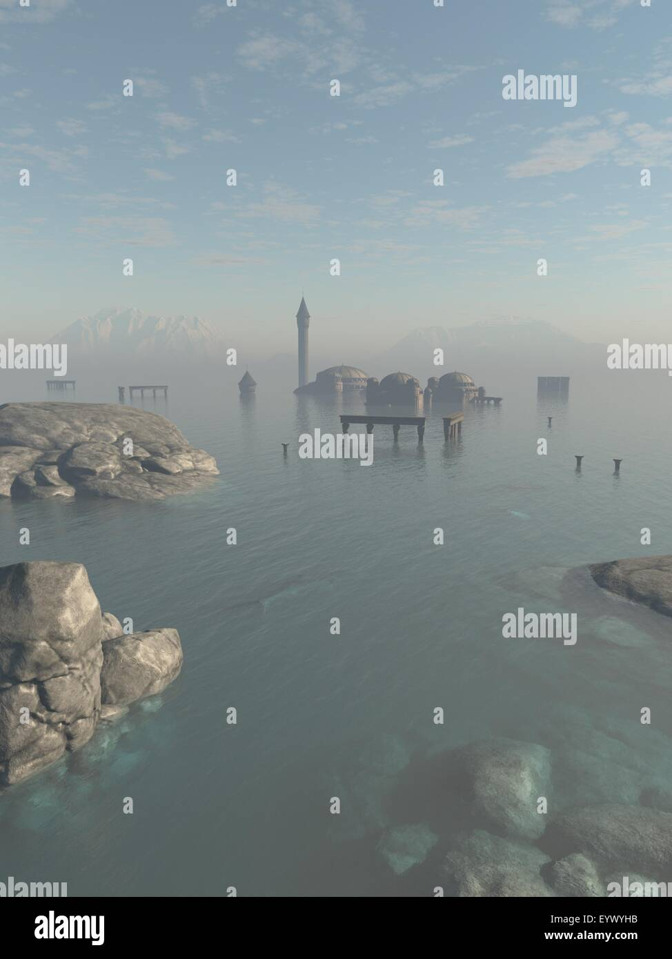 Drowned City Ruins of Atlantis - Stock Image