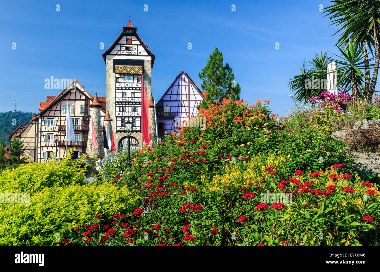 The Colmar Tropical in Bukit Tinggi, Pahang.  The Colmare Tropicale is remodeled after the French village of Colmare. - Stock Image