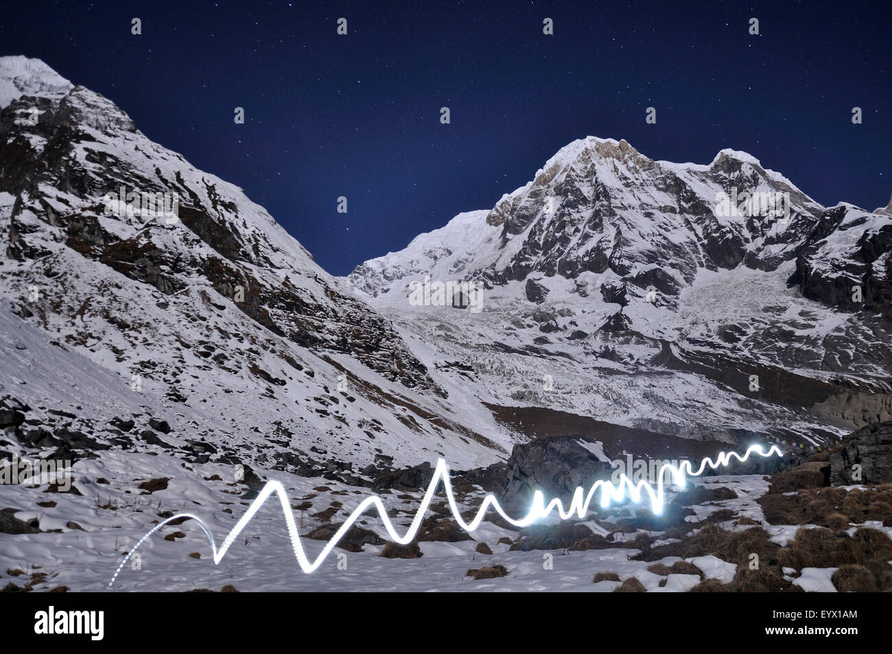Light Painting at Annapurna Base Camp - Stock Image