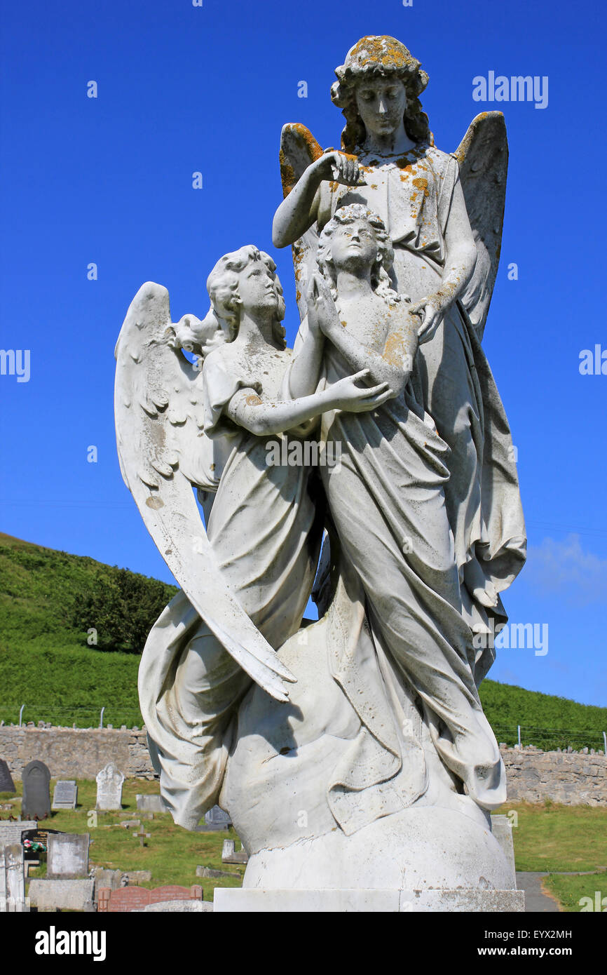 Angelic Headstone In St Tudno's Cemetery, Great Orme, Llandudno, Wales - Stock Image
