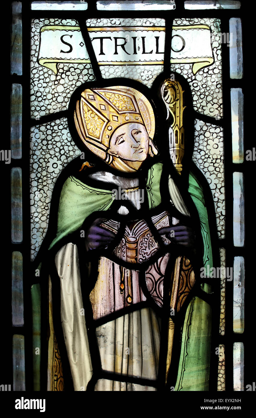 Stained Glass Window Depicting St Trillo - Stock Image