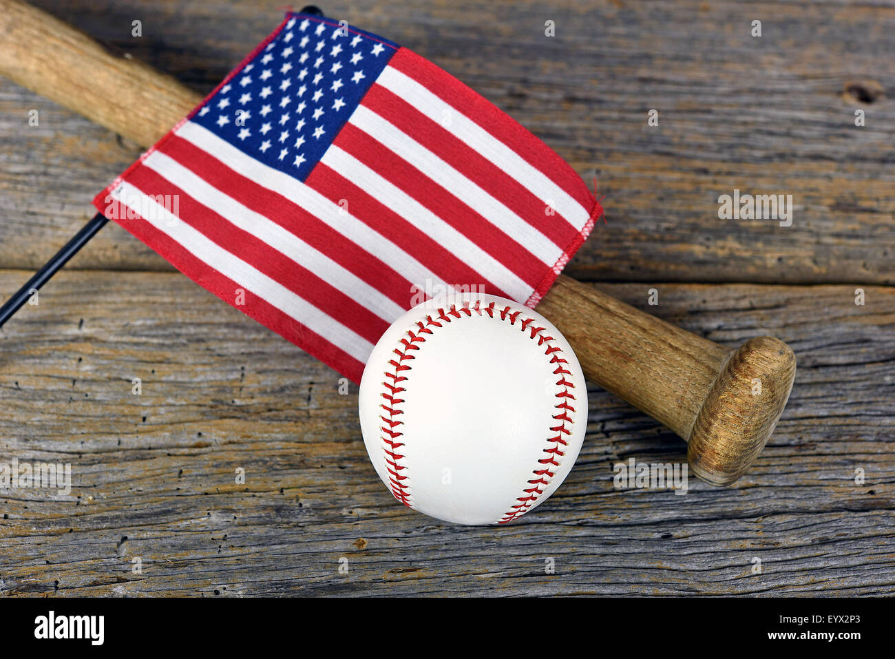 American Flag On Old Wooden Baseball Bat With White Rustic Barn Wood
