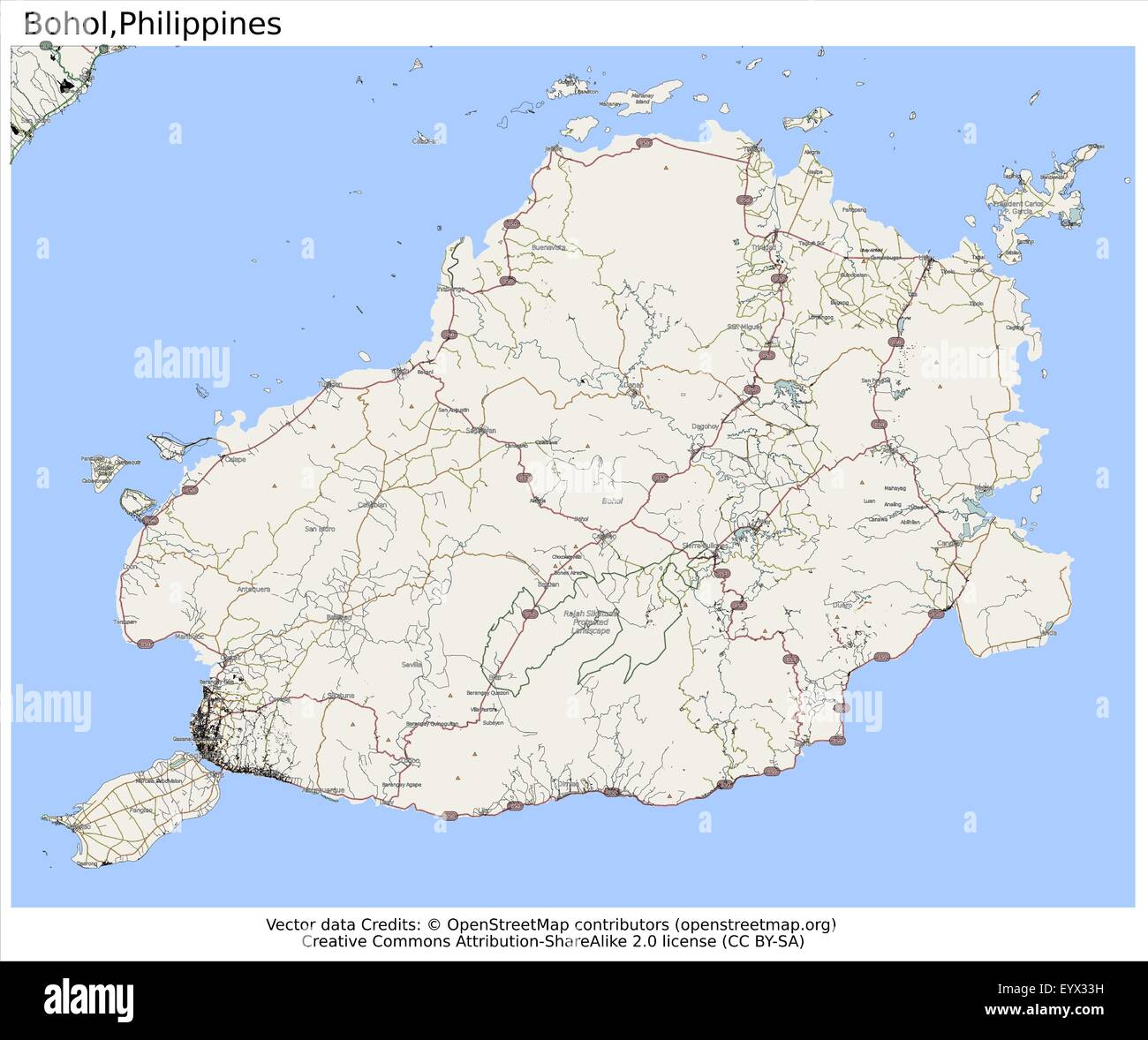 Bohol Philippines Country City Island State Location Map Stock
