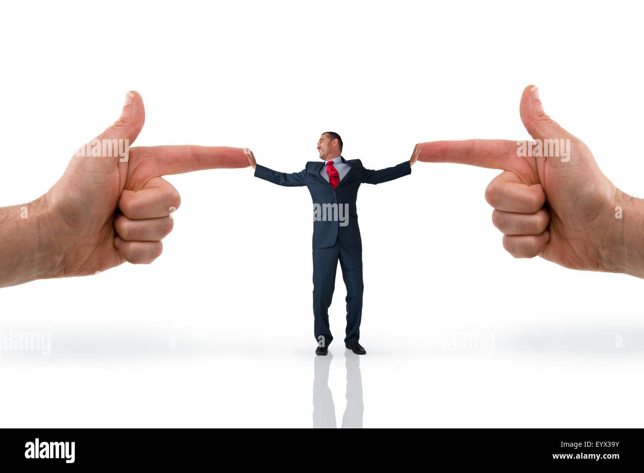 business accusation concept stressed businessman with pointing fingers - Stock Image