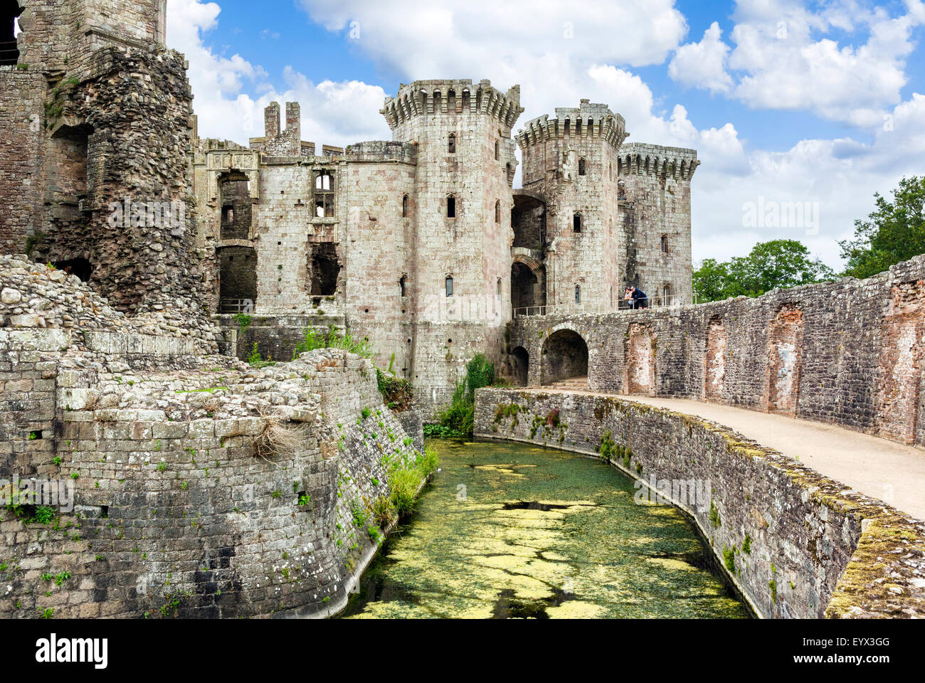 The ruins of Raglan Castle, Raglan, Monmouthshire, Wales, UK - Stock Image