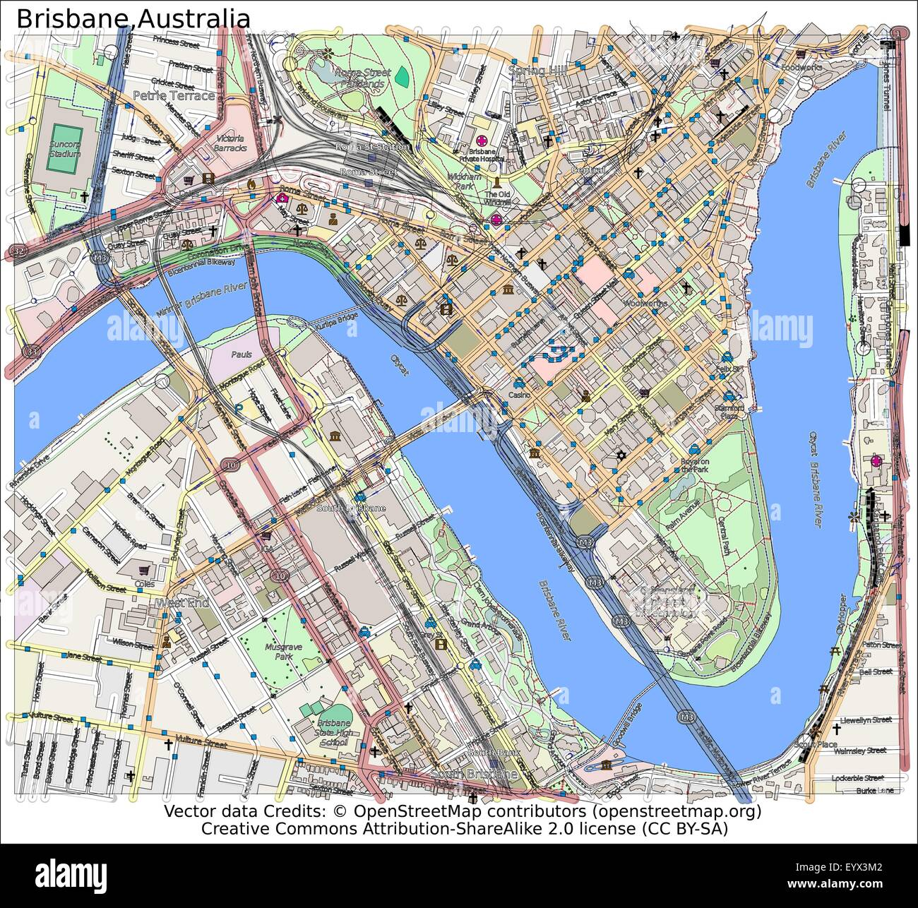 Brisbane Australia Country city island state location map Stock
