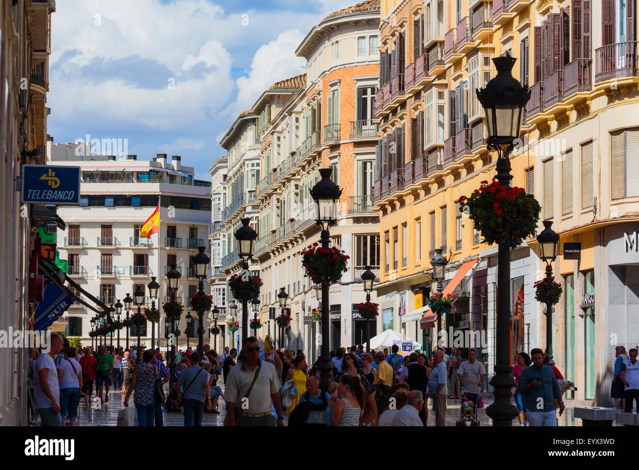 Malaga, Malaga Province, Costa del Sol, Andalusia, southern Spain.  The main street of Malaga, Calle Larios. - Stock Image