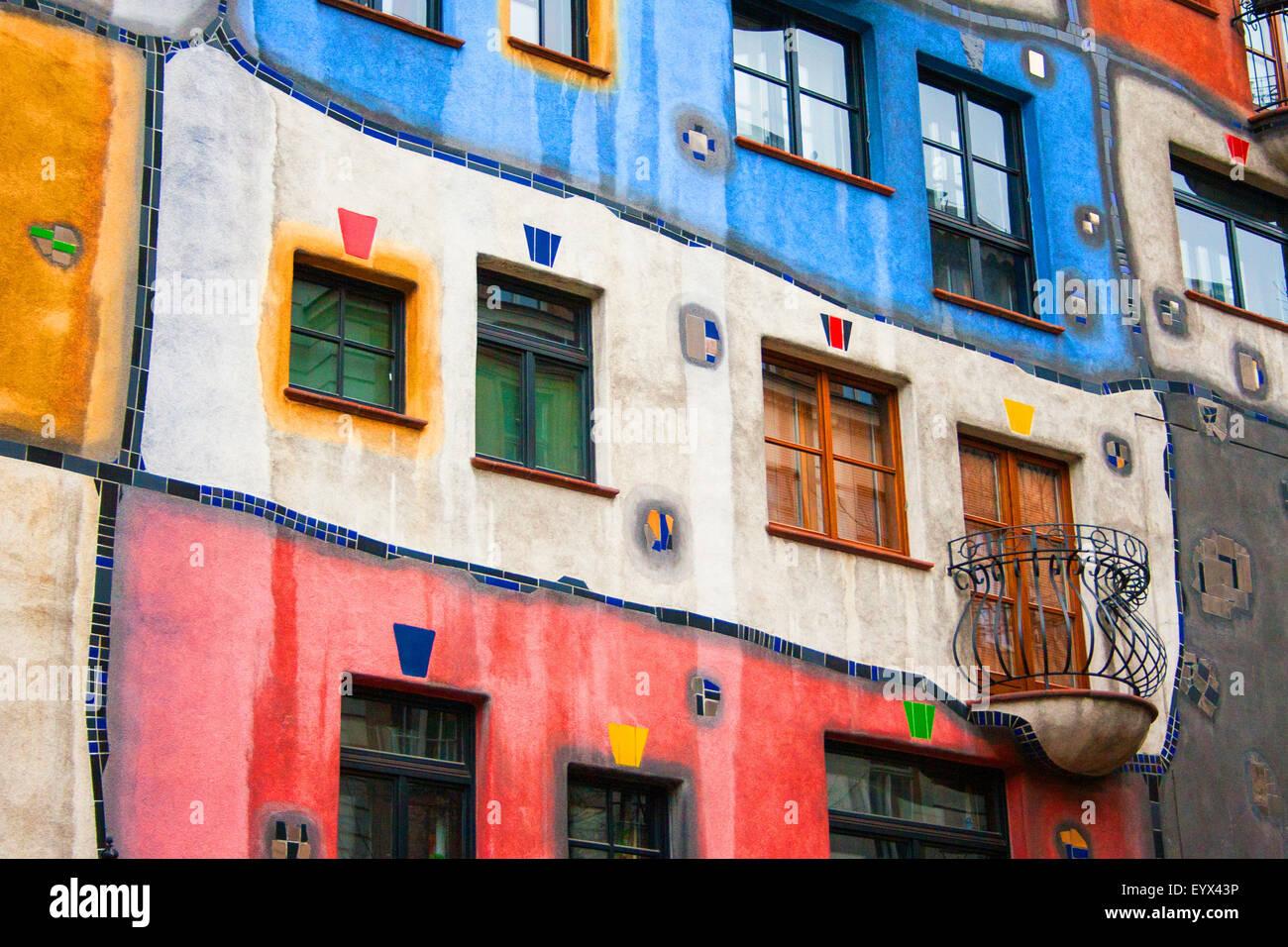 Hundertwasser Haus in Wien - Stock Image