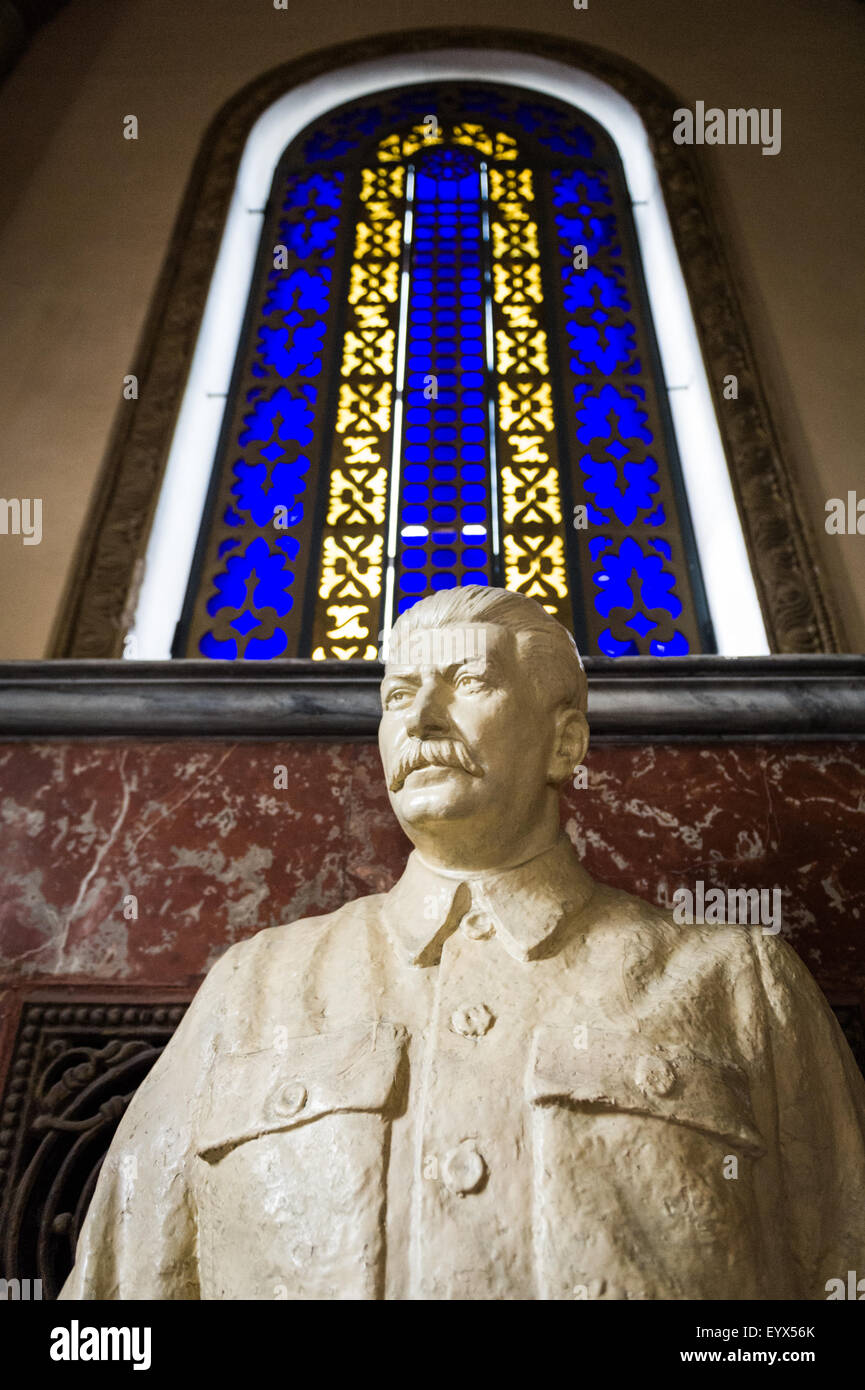 An imposing statue to Joseph Stalin in the museum dedicated to the infamous leader in Gori, Georgia, Eurasia. - Stock Image