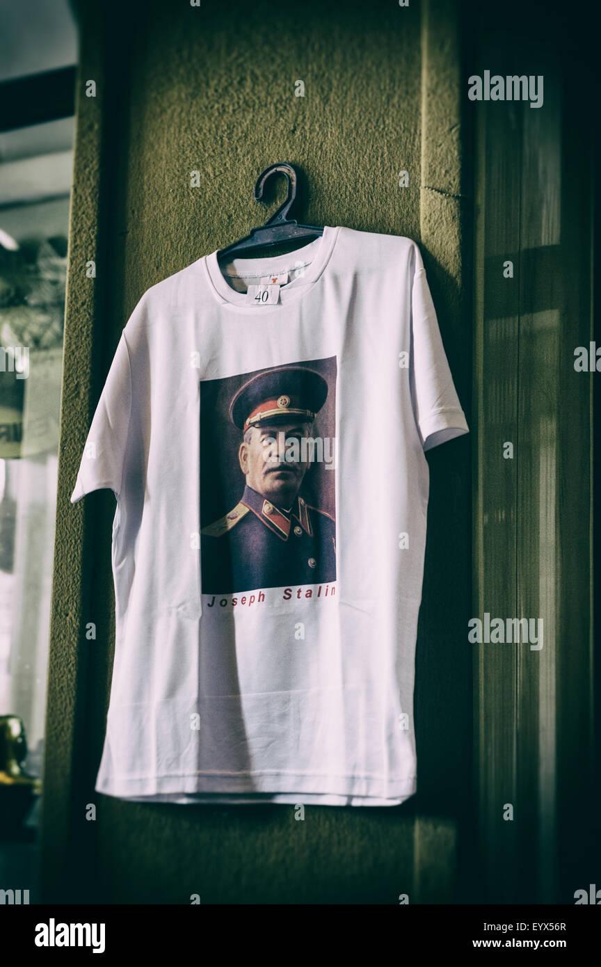 Joseph Stalin museum gift shop a teeshirt dedicated to the infamous leader in Gori, Georgia, Eurasia. - Stock Image