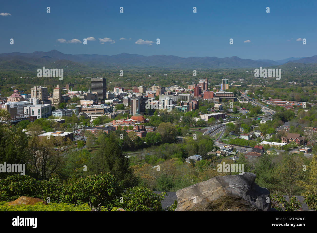 DOWNTOWN SKYLINE ASHEVILLE BUNCOMBE COUNTY NORTH CAROLINA USA - Stock Image