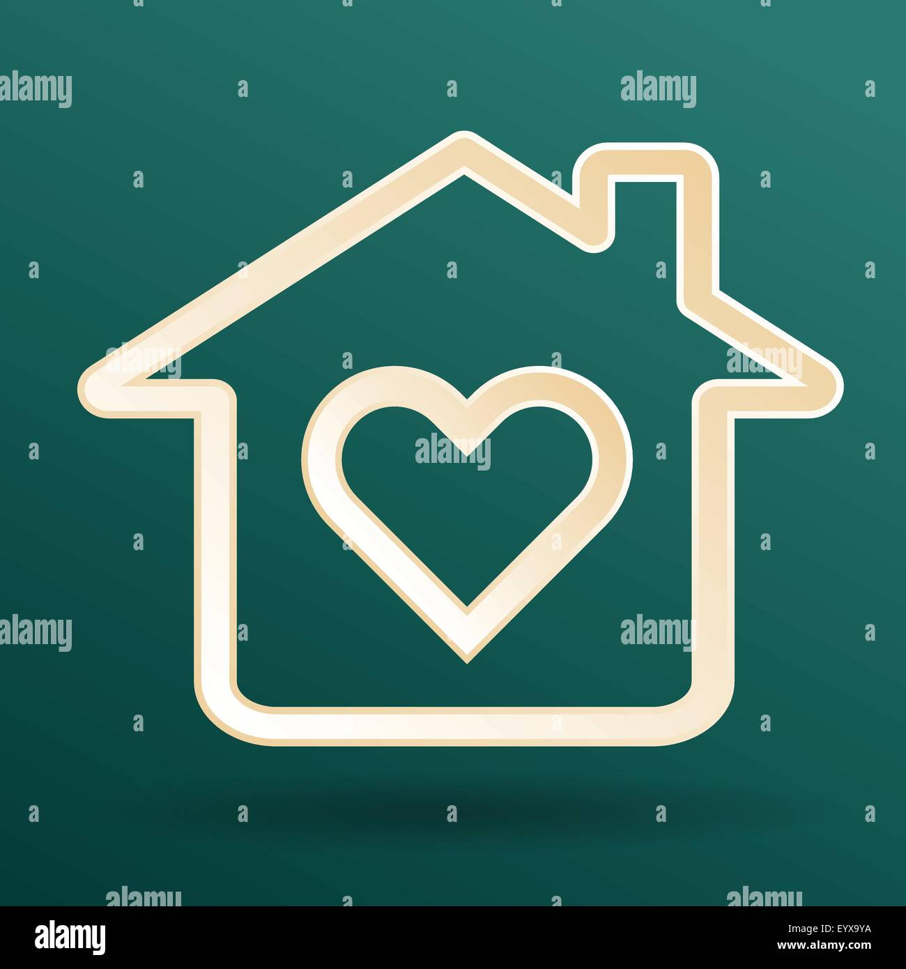 Abstract heart and home symbols on dark background as happy family love concept vector illustration. - Stock Vector