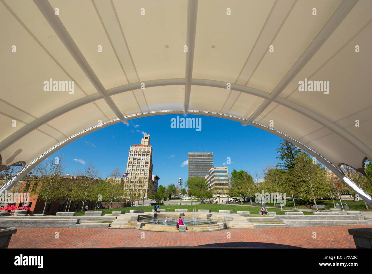 BANDSTAND PACK SQUARE PARK DOWNTOWN ASHEVILLE BUNCOMBE COUNTY NORTH CAROLINA USA - Stock Image