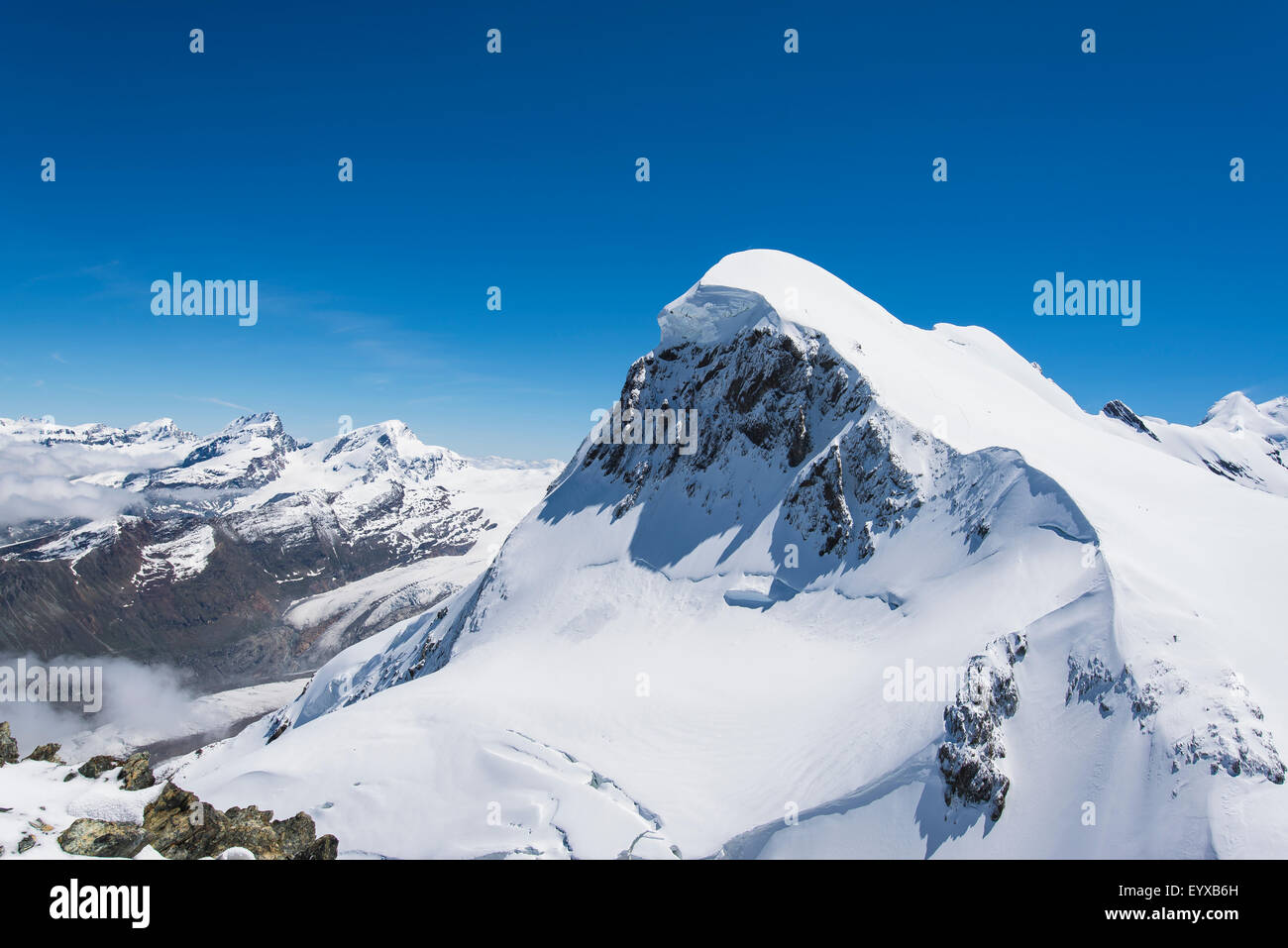 Breithorn summit from the viewing platform at the Matterhorn Glacier Paradise - Stock Image