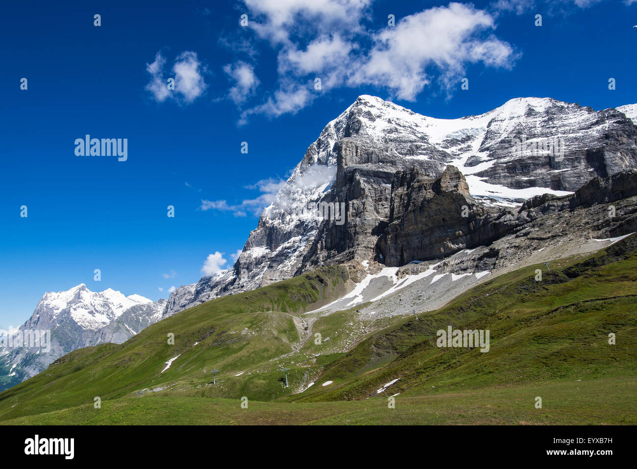 The Eiger showing its notorious north face, Switzerland. - Stock Image