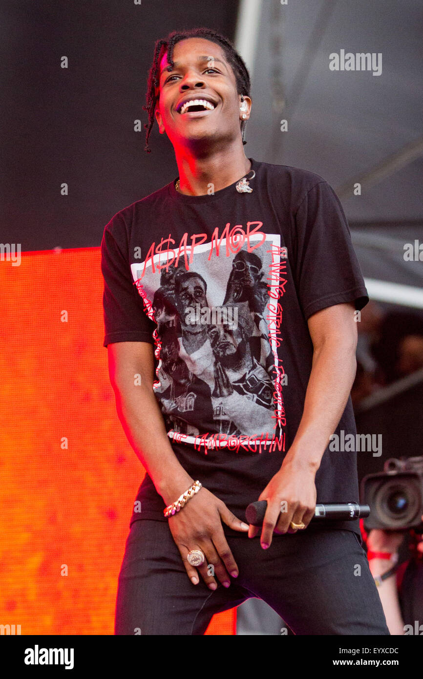 Chicago, Illinois, USA. 2nd Aug, 2015. Rapper ASAP ROCKY performs live in Grant Park at the Lollapalooza Music Festival - Stock Image