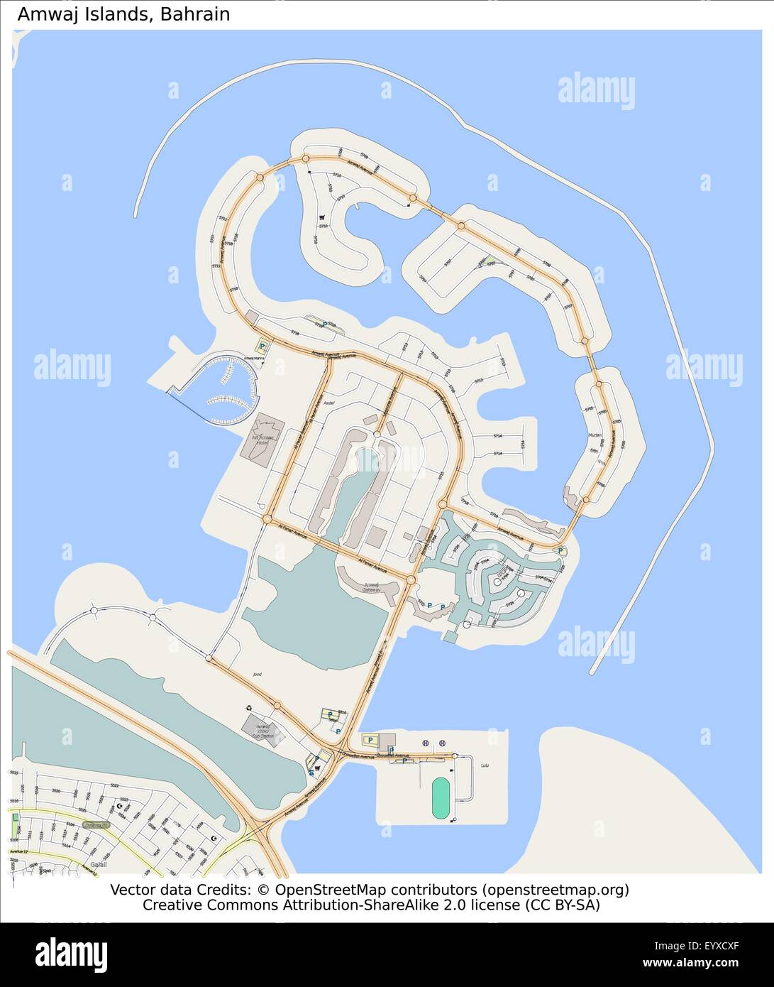Amwaj islands Bahrain Country city island state location map Stock ...