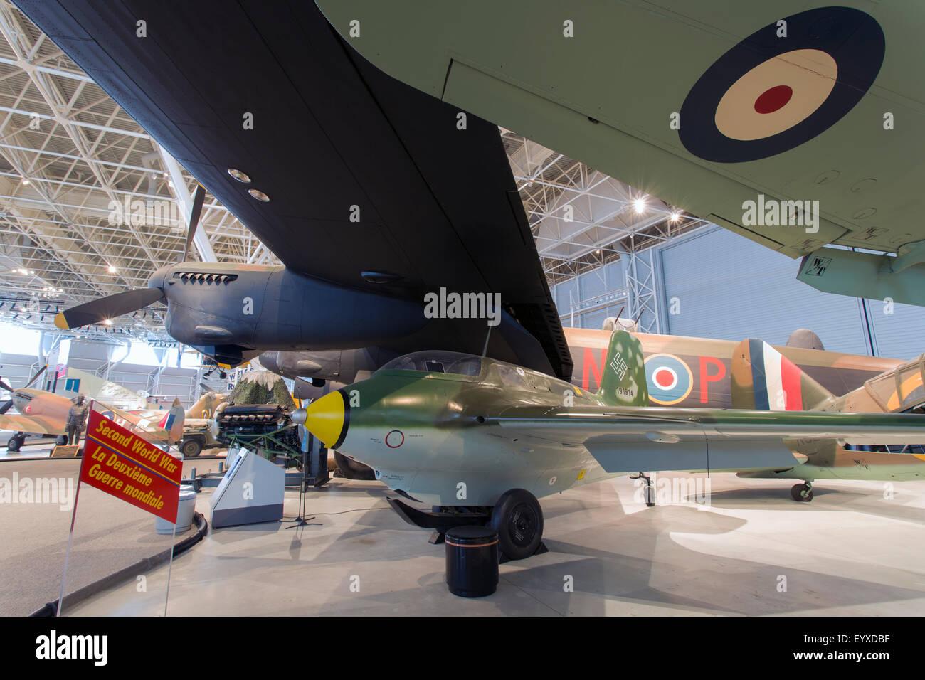 Canada,Ontario,Ottawa, Canada Aviation & Space Museum, Lancaster, Messerschmitt Me 163B-1a Komet - Stock Image