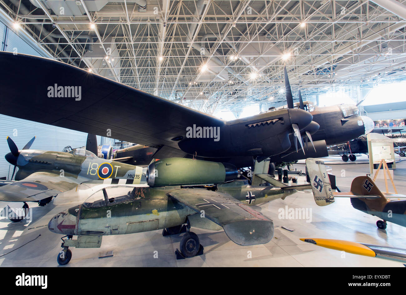 Canada,Ontario,Ottawa, Canada Aviation & Space Museum, Heinkel He 162A-1 Volksjager and Avro 683 Lancaster X - Stock Image