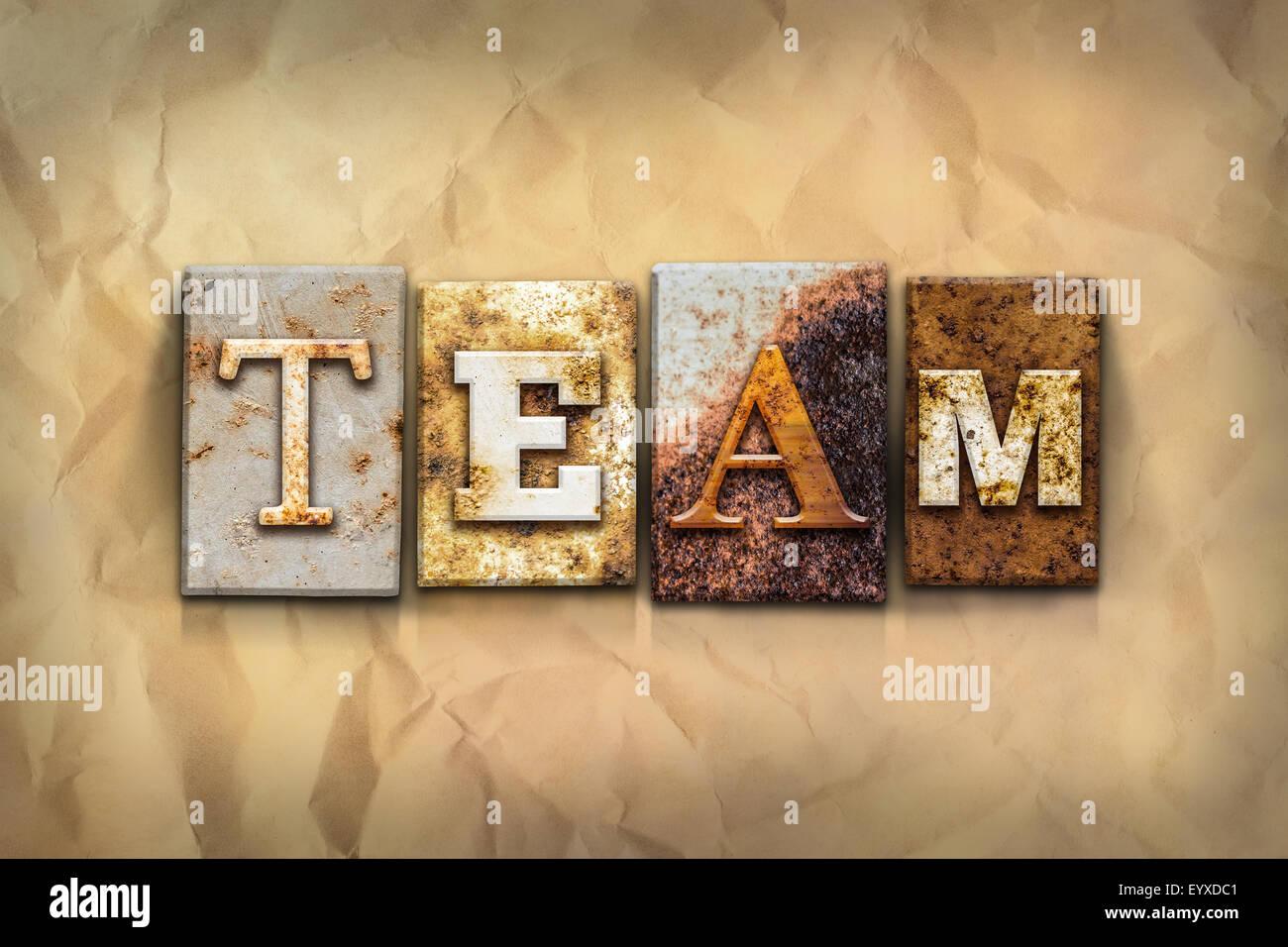 Teamwork Word In Vintage Metal Stock Photos & Teamwork Word In ...