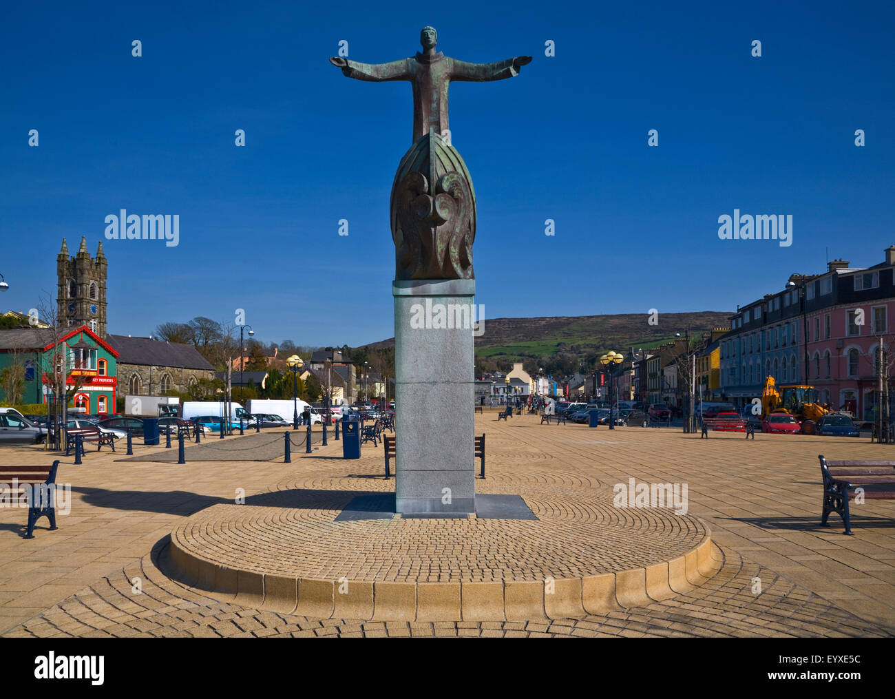 Sculpture of St Brendan, Bantry Town Centre,  County Cork, Ireland - Stock Image
