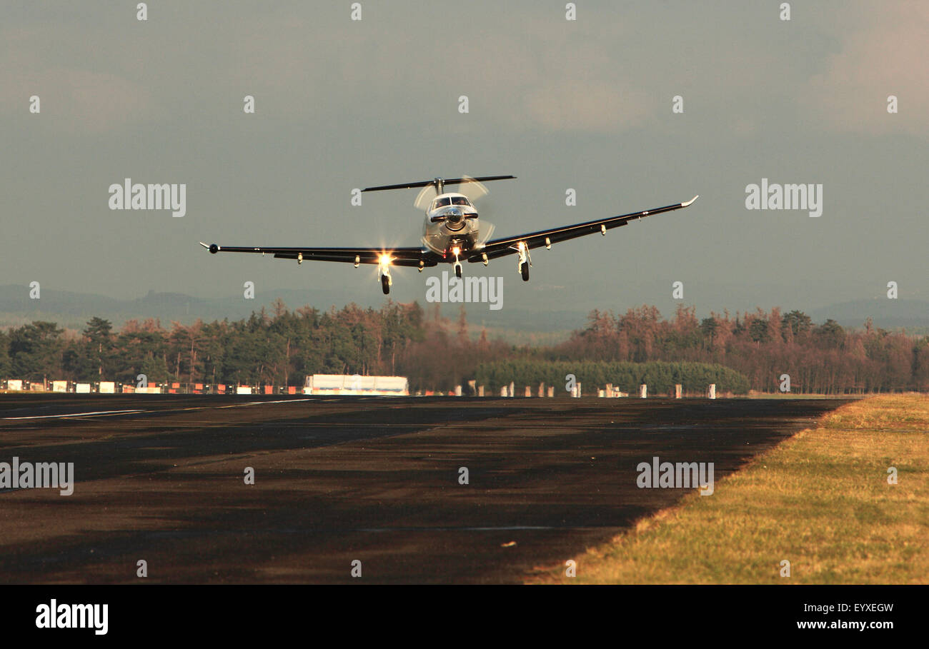 Single turboprop aircraft landing aircraft,  shoted on aircraft Pribram, 25th November 2010 - Stock Image