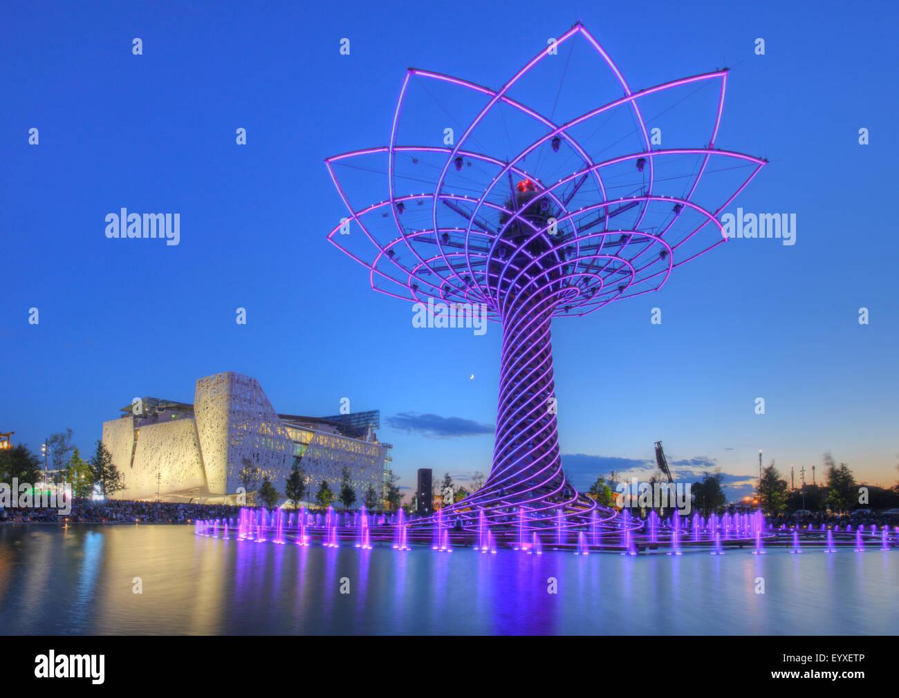 The Tree of Life at Lake Arena at Milan Expo 2015, Milan, Italy - Stock Image