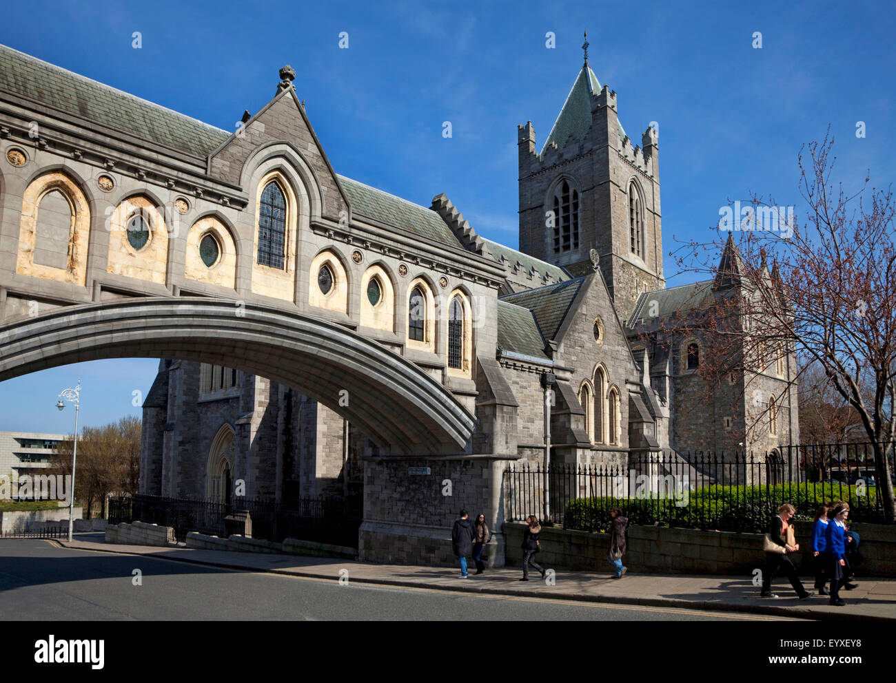 19th Century stone bridge from the Synod Hall (left) to Christ Church Cathedral, Founded 1030, Rebuilt in 1878, Stock Photo