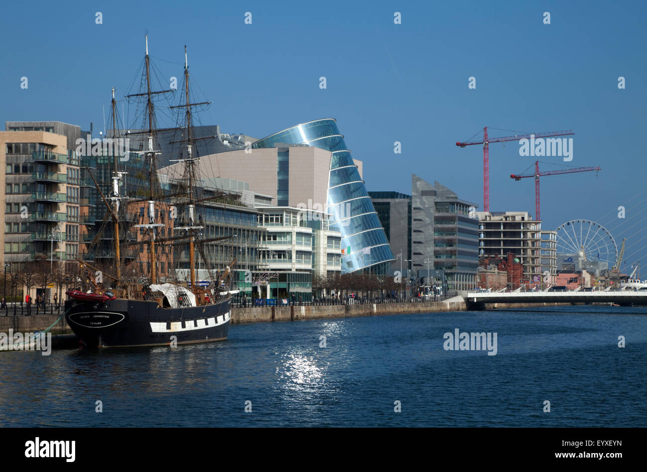 'Jeanie Johnston'  launched 6th May, 2000, Reconstructed Famine Ship and Museum on the River Liffey, Dublin - Stock Image