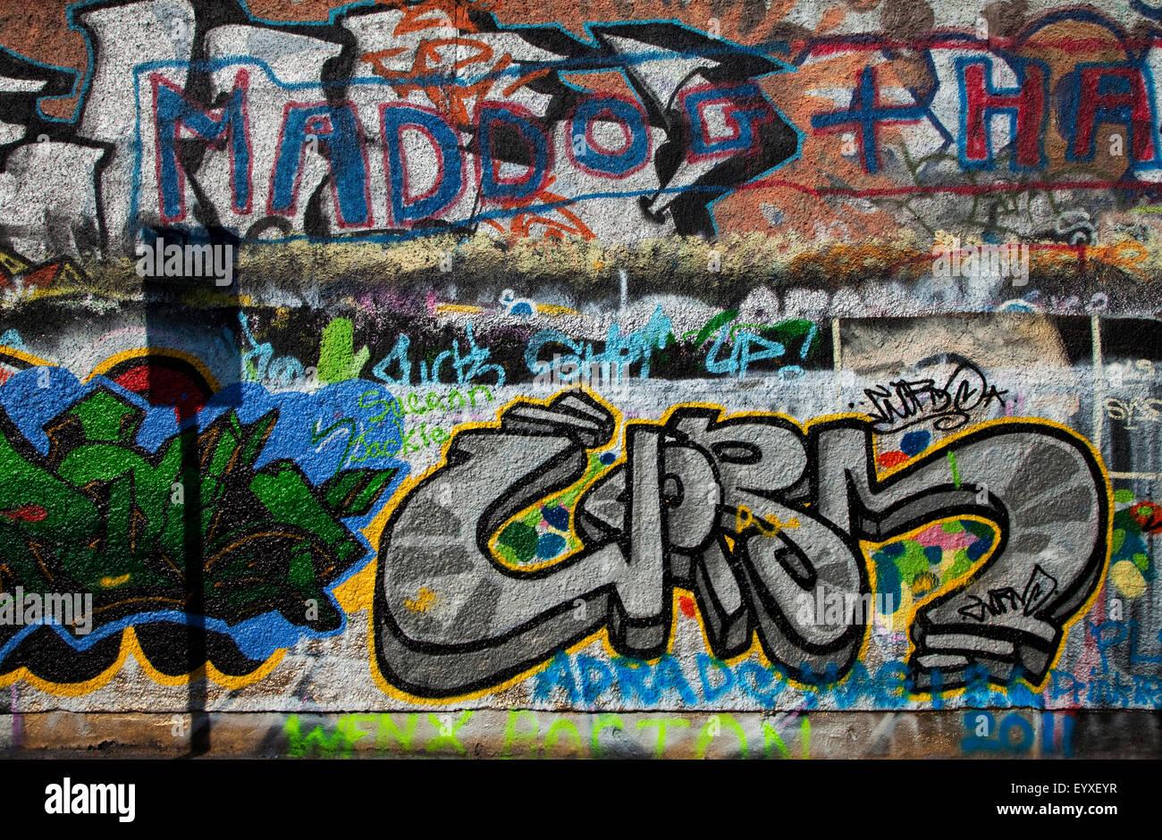 The U2 Graffiti Wall, part of Windmill Lane Studios, Dublin City, Ireland; sadly demolished in 2015 . - Stock Image