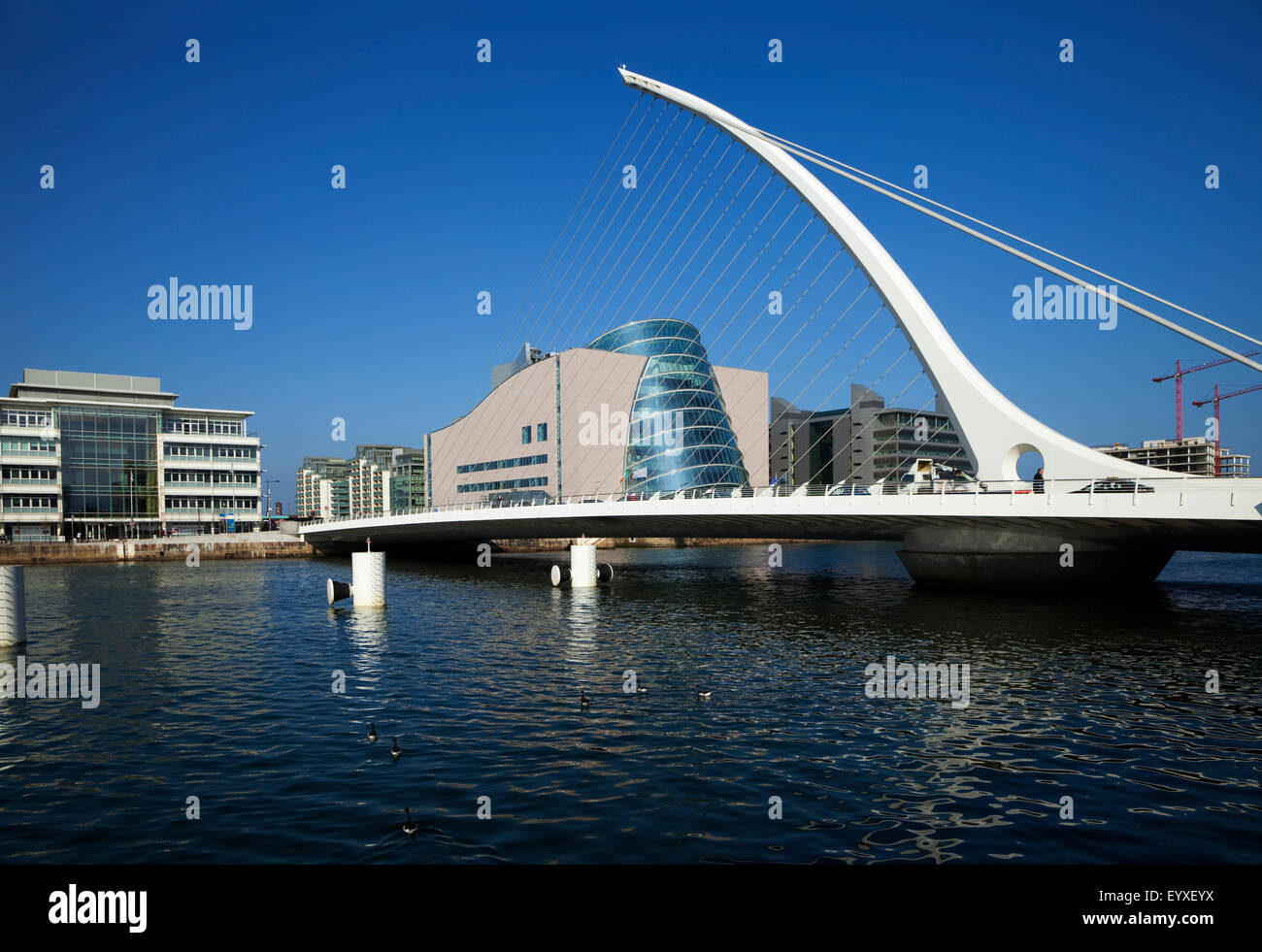 The Samual Beckett Bridge over the River Liffey,  and Dublin Convention Centre, Dublin City, Ireland - Stock Image