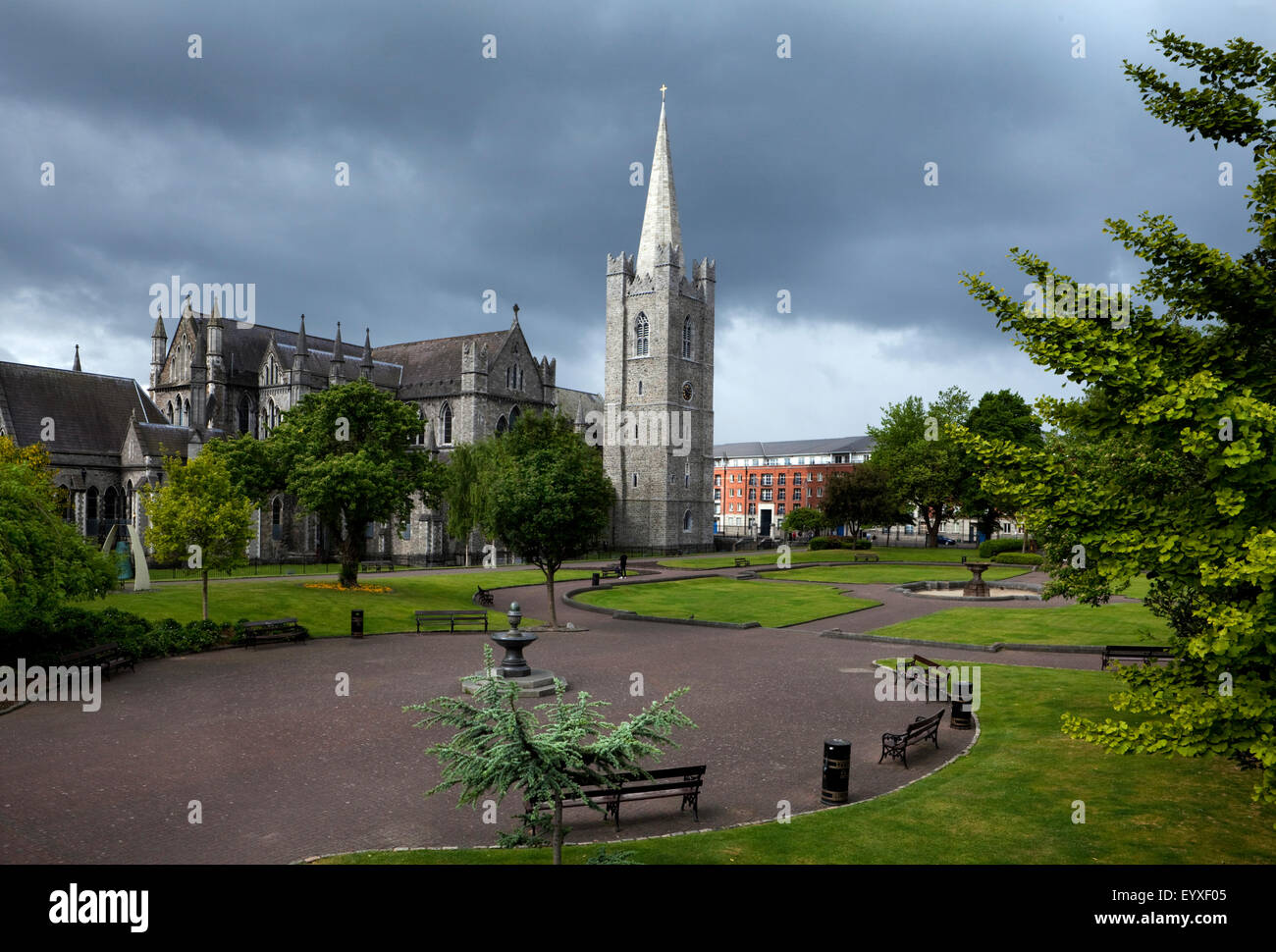 Garden of St Patrick's Cathedral, founded 1191, Dublin City, Ireland Stock Photo