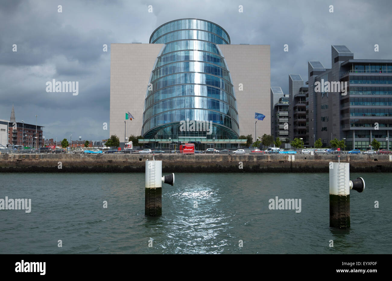 The National Irish Conference Centre overlooks the River Liffey at Spencer Dock, North Wall Quay, Dublin Docklands, - Stock Image