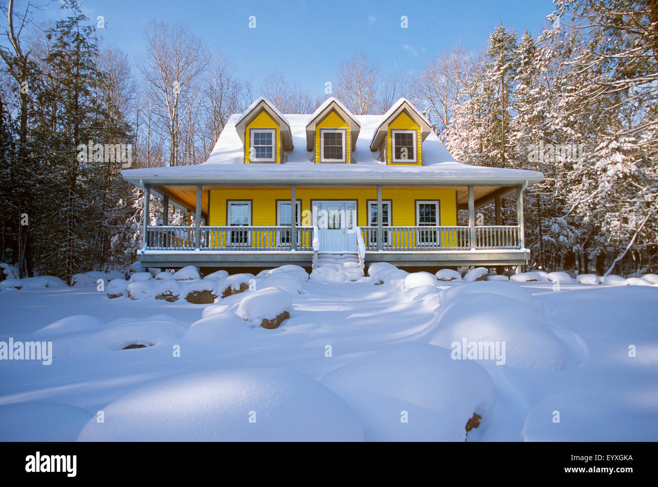 house with veranda and dormer windows North America, Canada, Ontario - Stock Image