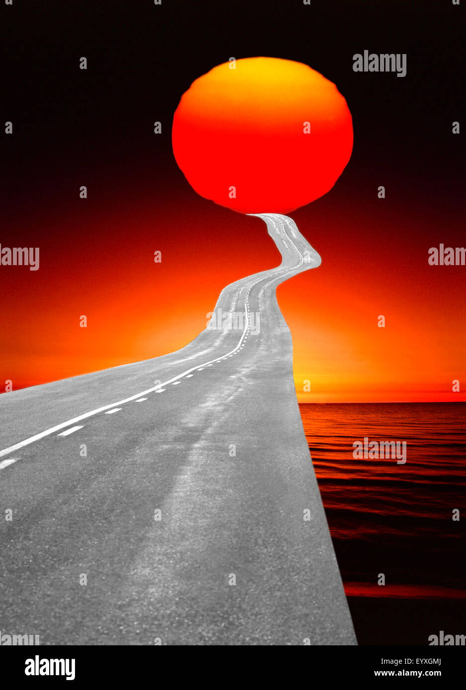 the way forward road leading to sun - Stock Image