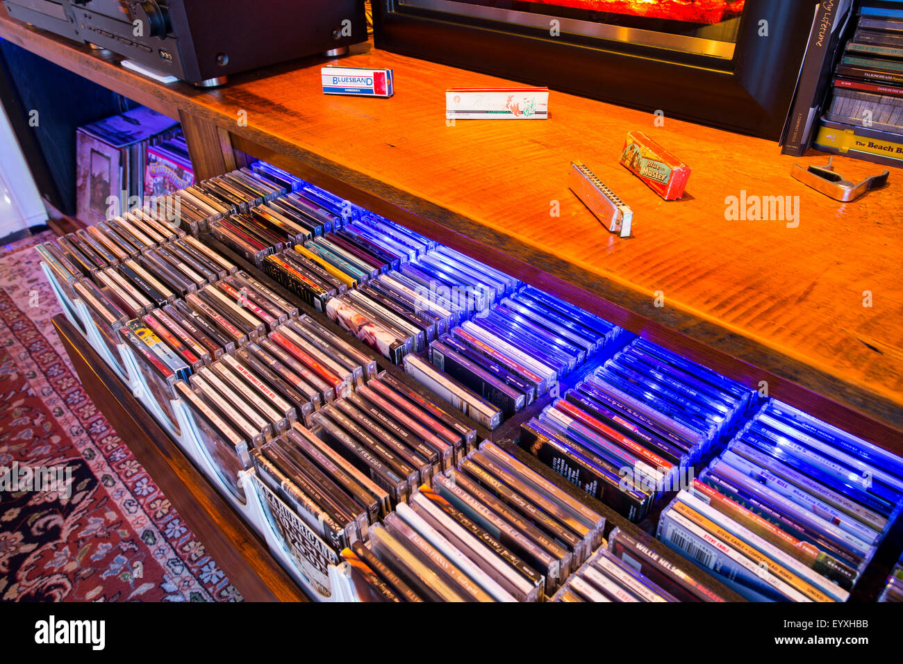 storage drawer with compact disc, North America, Canada, Ontario - Stock Image
