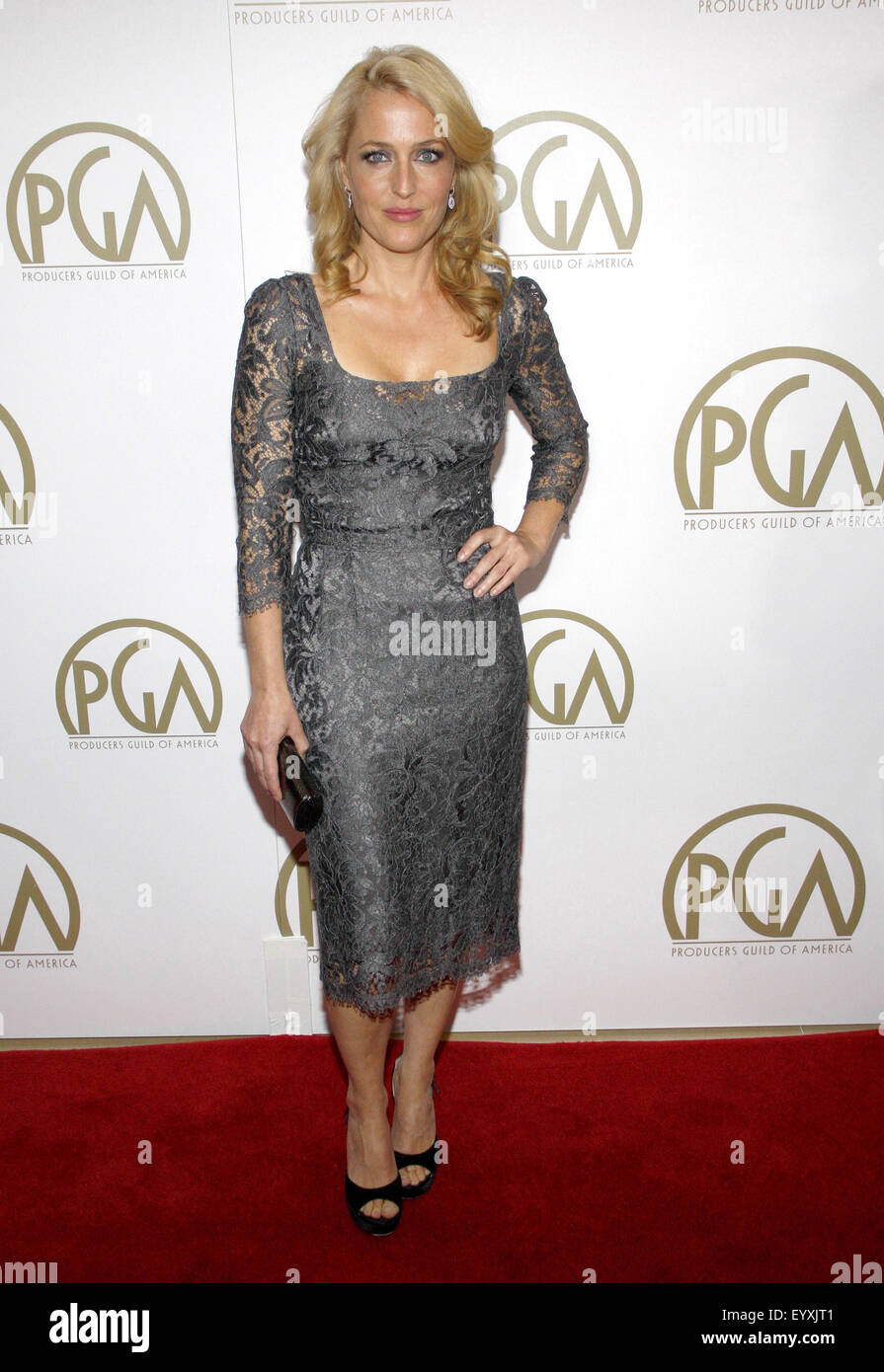 Gillian Anderson at the 25th Annual Producers Guild Awards held at the Beverly Hilton Hotel in Los Angeles on January - Stock Image