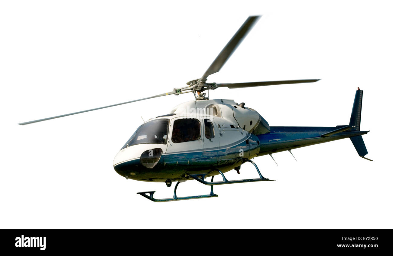 Blue and white helicopter in flight isolated against white background - Stock Image