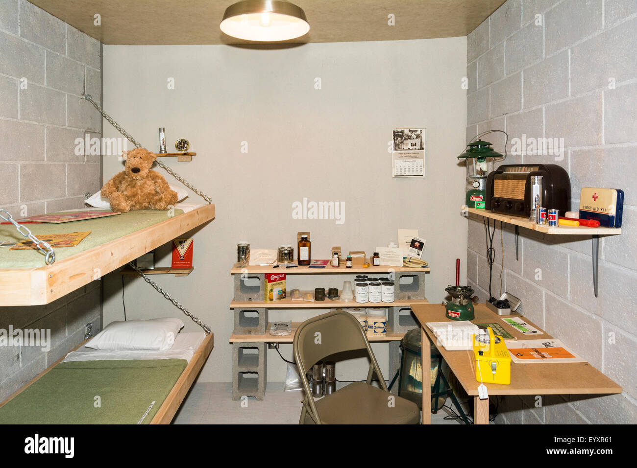 Nebraska, Ashland, Strategic Air & Space Museum, replica home bomb shelter circa 1950s - Stock Image